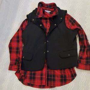 Talbots black quilted vest sizes petites, lined